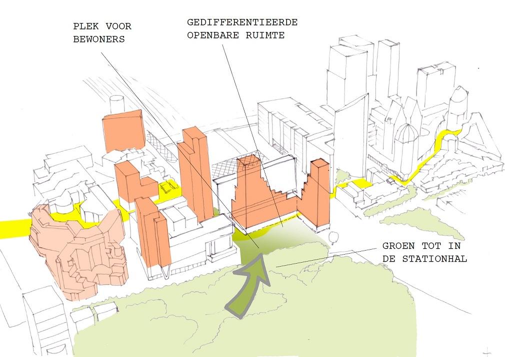 ontwerpschets ontmoeting op plein Den Haag centraal